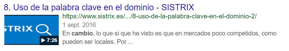 Video-SERP de google.es con un resultado de vídeo de SISTRIX