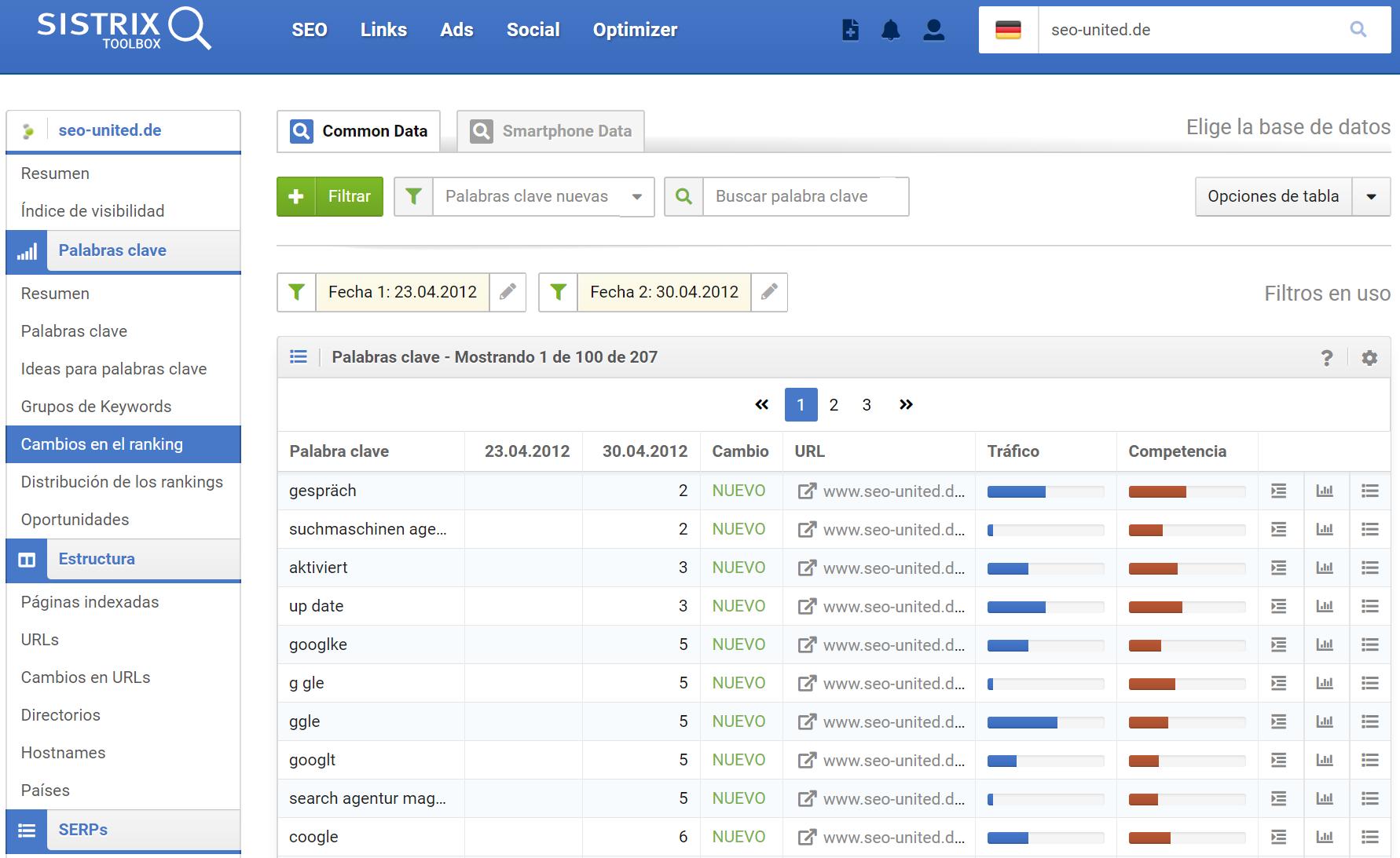 """El dominio seo-united.de ha entrado en el Top 100 para la palabra clave """"Google"""""""