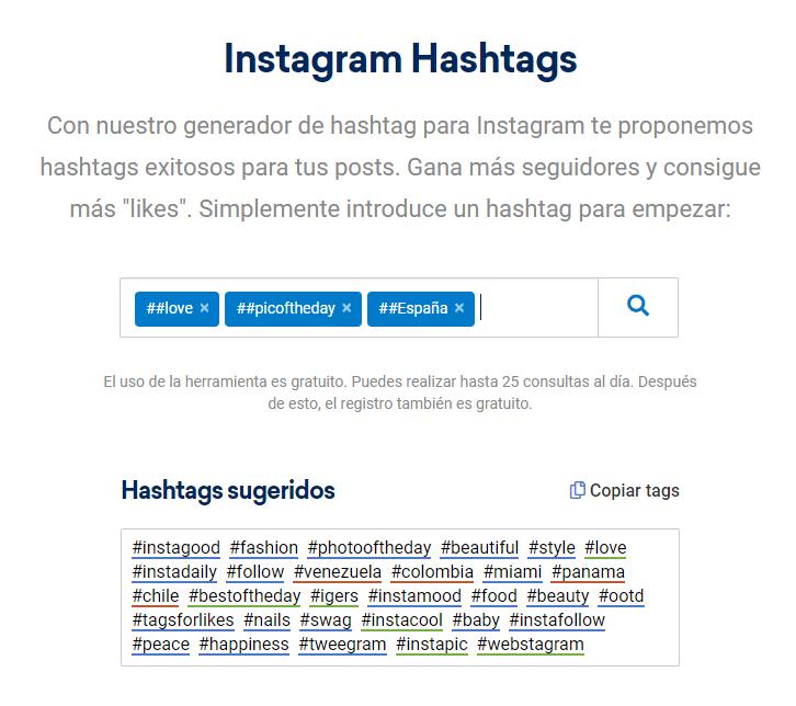 Instagram Hashtag Generator - SISTRIX - España