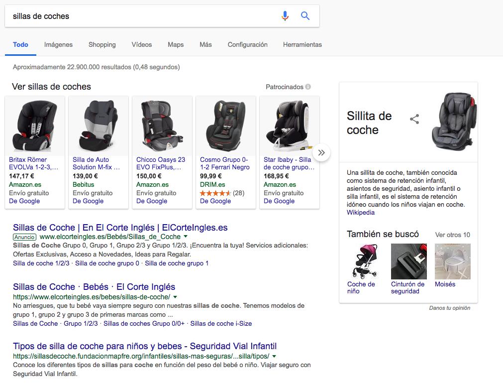 Ejemplo de varias intenciones de búsqueda mostradas por Google en los SERPs donde se refleja que Google no entiende perfectamente todas las intenciones de ususario
