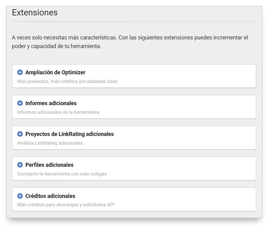 Extensiones de Optimizer para adquirir más opciones dentro del Optimizer SISTRIX