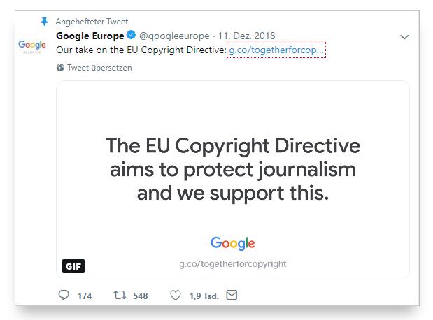 """Para Google la calidad es una necesidad y para ello, debe y tiene que proteger a los creadores de contenido, los autores.  La cuenta de """"Google Europa"""" fijaba en su cuenta el Tweet en el que lo explica"""