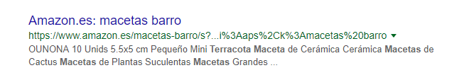"""Ejemplo de cómo Google utiliza una Meta-Descripción modificada para la búsqueda """"maceta de terracota"""" en google.es"""