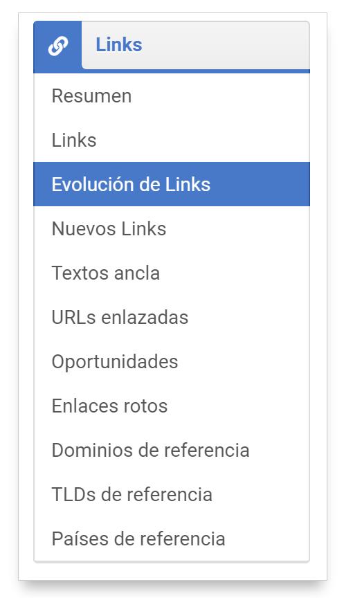 Selección de la Evolución de Links de un dominio dentro del menú del módulo Links