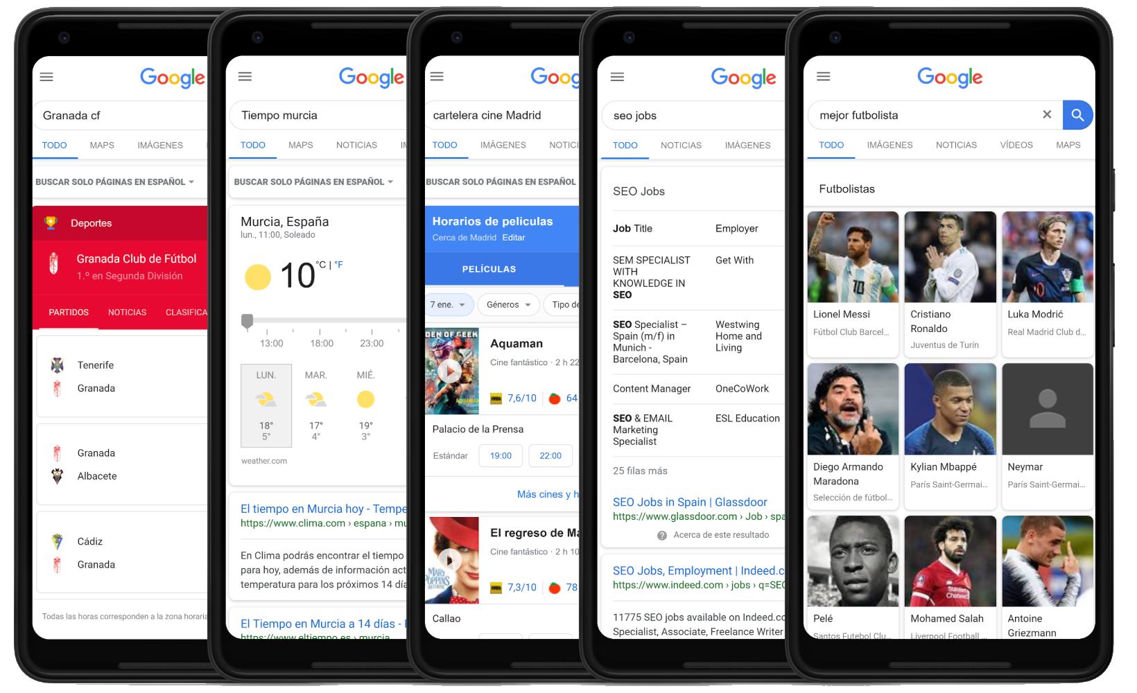 Diferentes ejemplos de búsquedas en Mobile en google.es