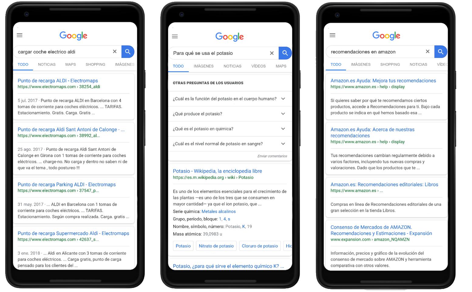 """Ejemplos de búsquedas """"Know"""" como intención de búsqueda del  usuario en Google"""
