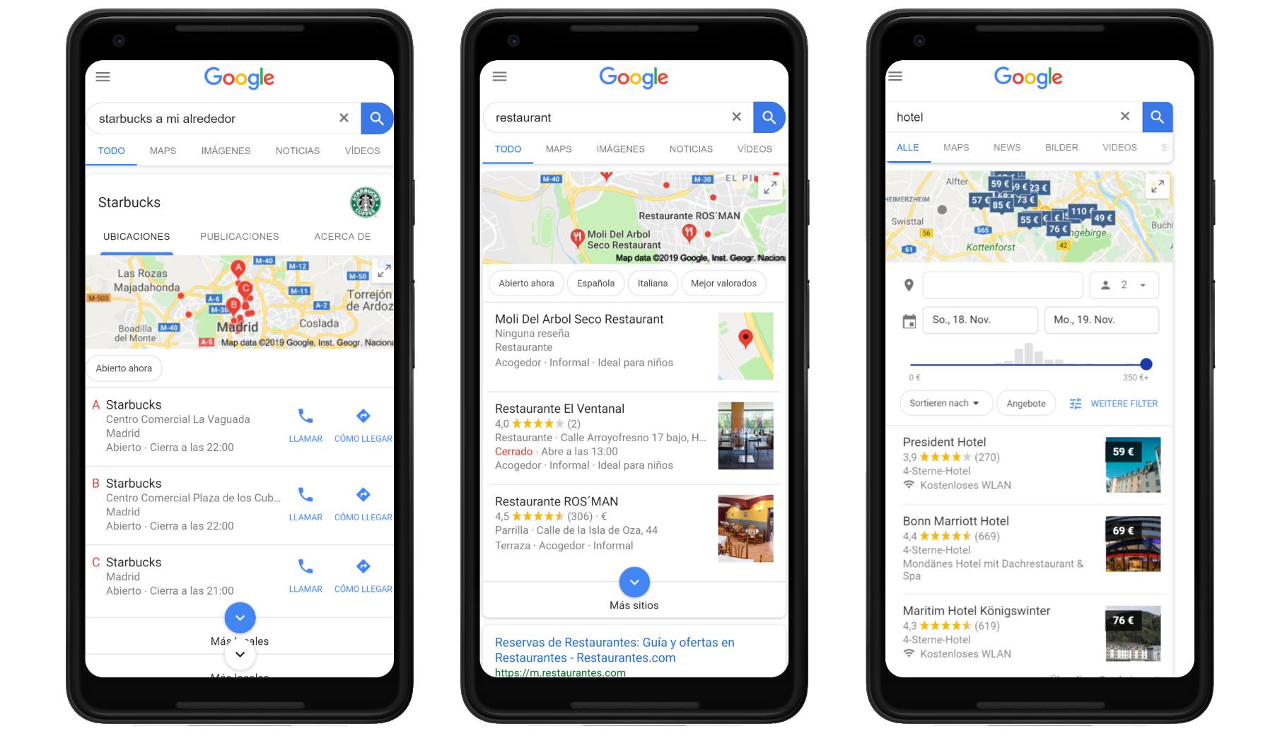 """Ejemplos de búsquedas """"Visit in person"""" como intención de búsqueda del usuario en Google"""