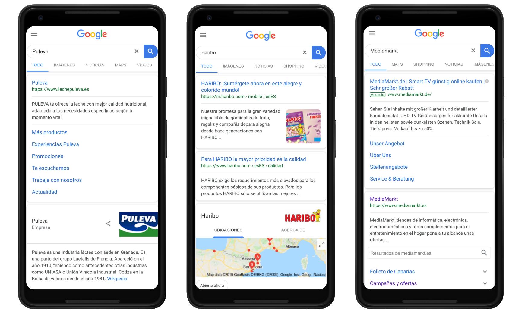 """Ejemplos de búsquedas """"website"""" como intención de búsqueda del  usuario en Google"""