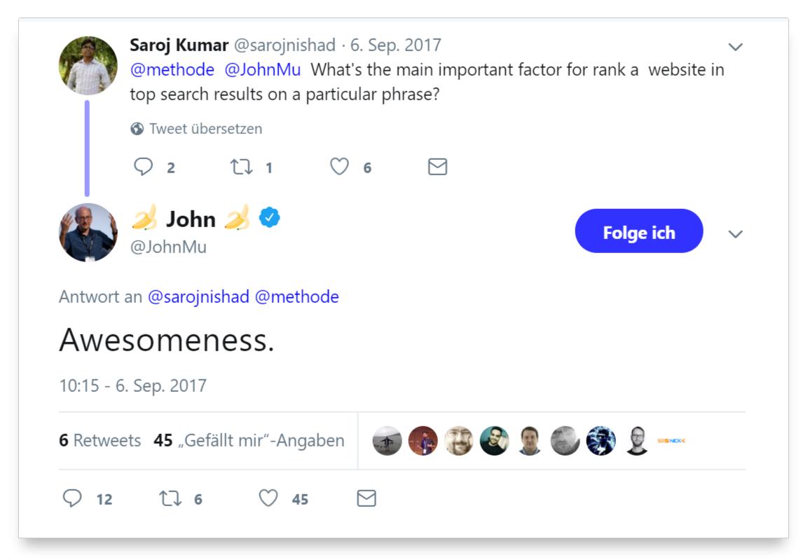 Respuesta de John Müller sobre el factor de posicionamientn más importante