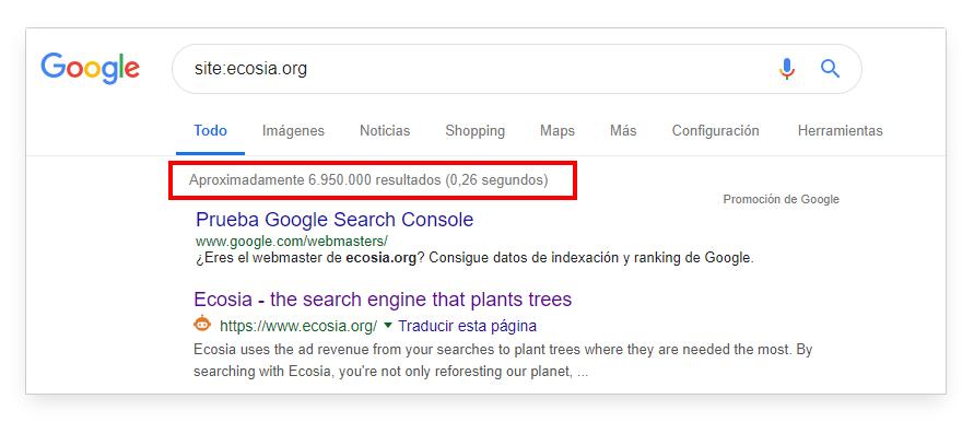 Comando de búsqueda site: ecosia.org en Google.es
