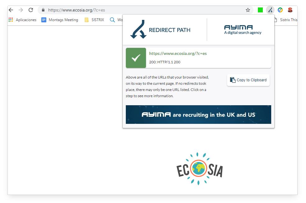 Redirect Path Ecosia.org
