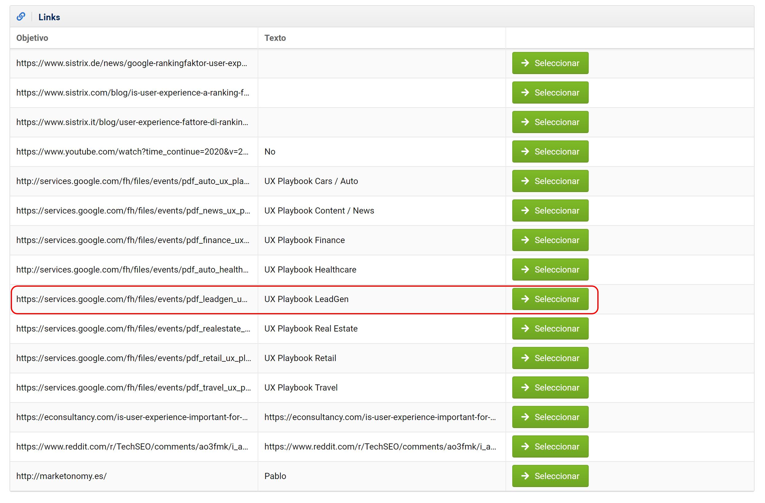 """""""Añadir nuevo enlace"""" e introduce la URL del artículo: obtendremos la lista de enlaces que parten de esta URL."""