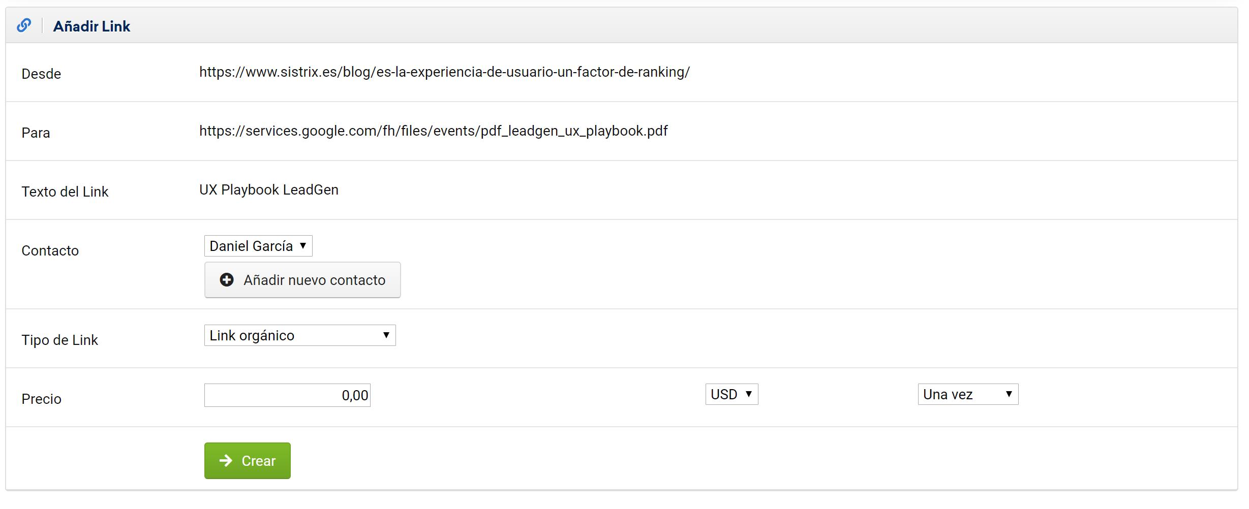 """Menú """"Añadir Link"""" en el LinkRating de SISTIRX para incorporar información adicional a los links seleccionados"""