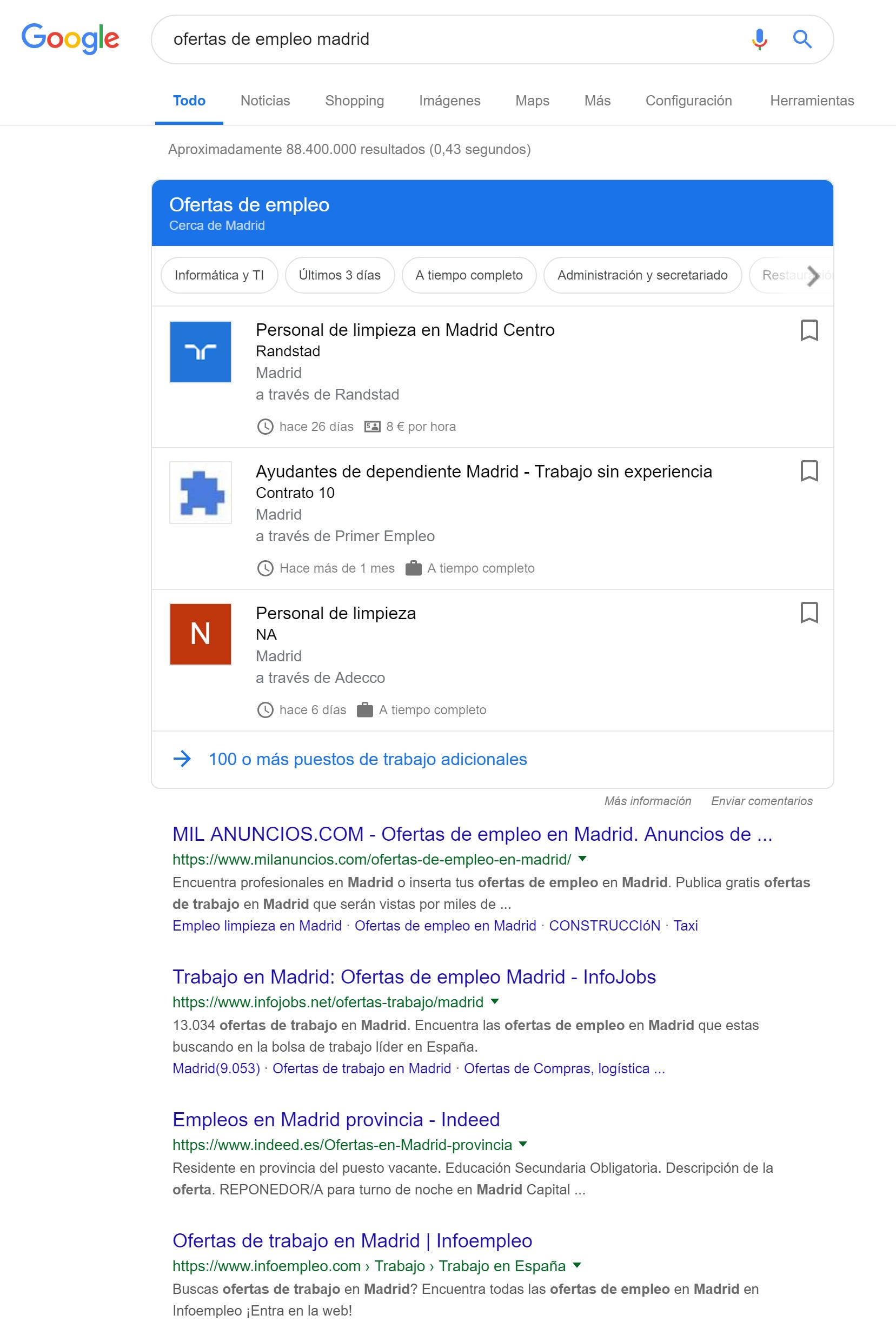 Google Jobs en los resultados de búsqueda