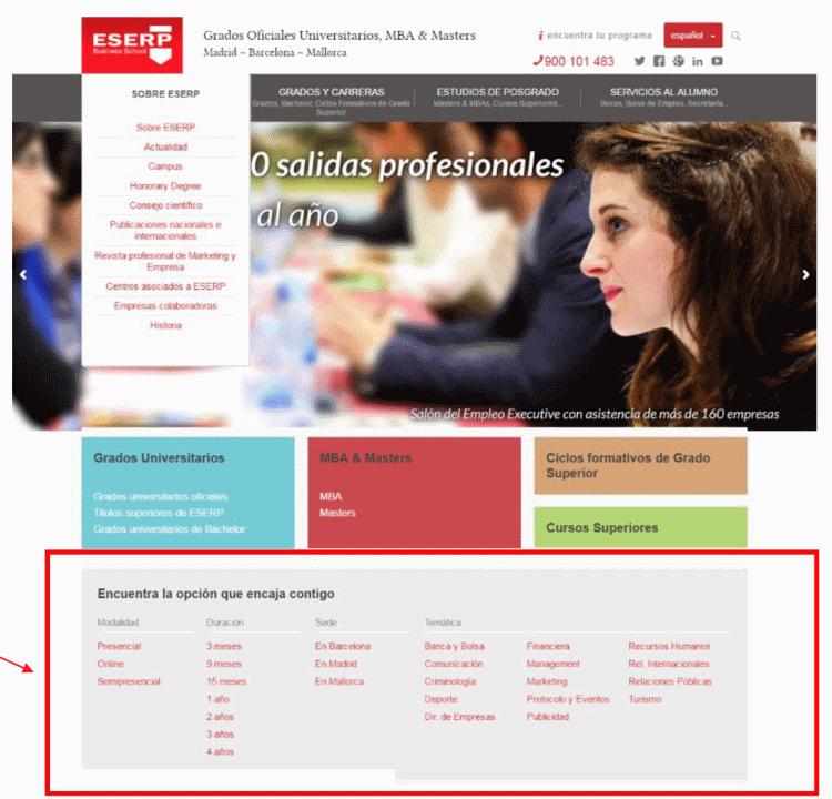 Web ESERP.COM antes de la migración