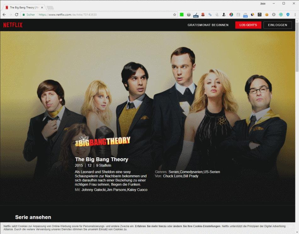 Oferta de Netflix en Alemania - The Big Bang Theory