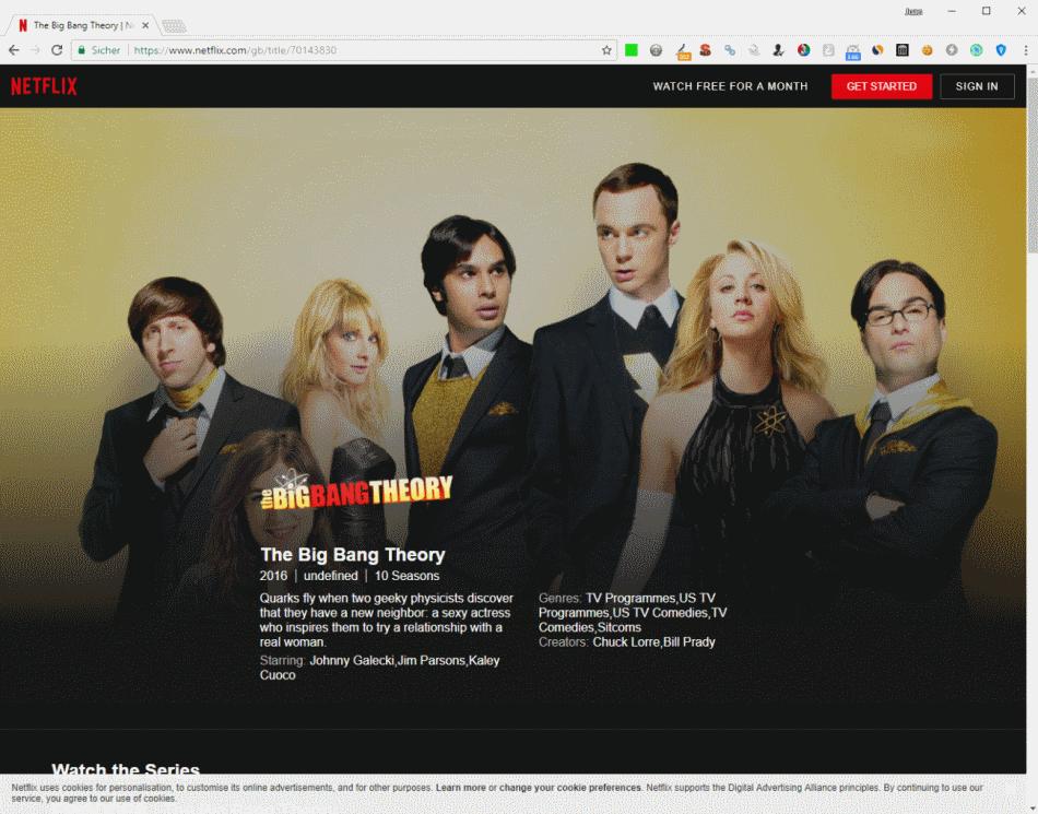 Oferta de Netflix en UK - The Big Bang Theory