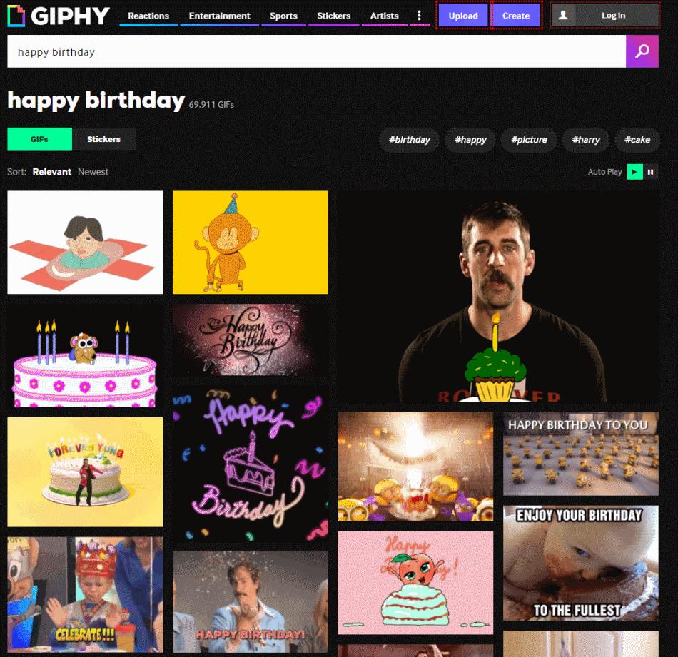 Página de inicio de giphy.com
