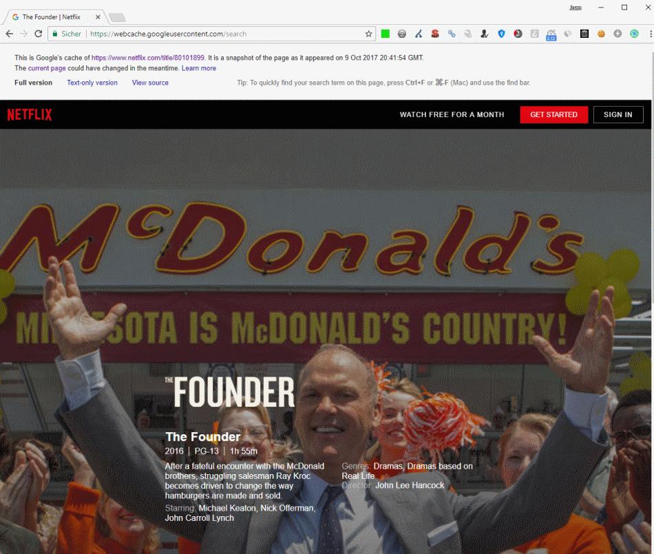 Netflix - The Founder en la caché de google.com