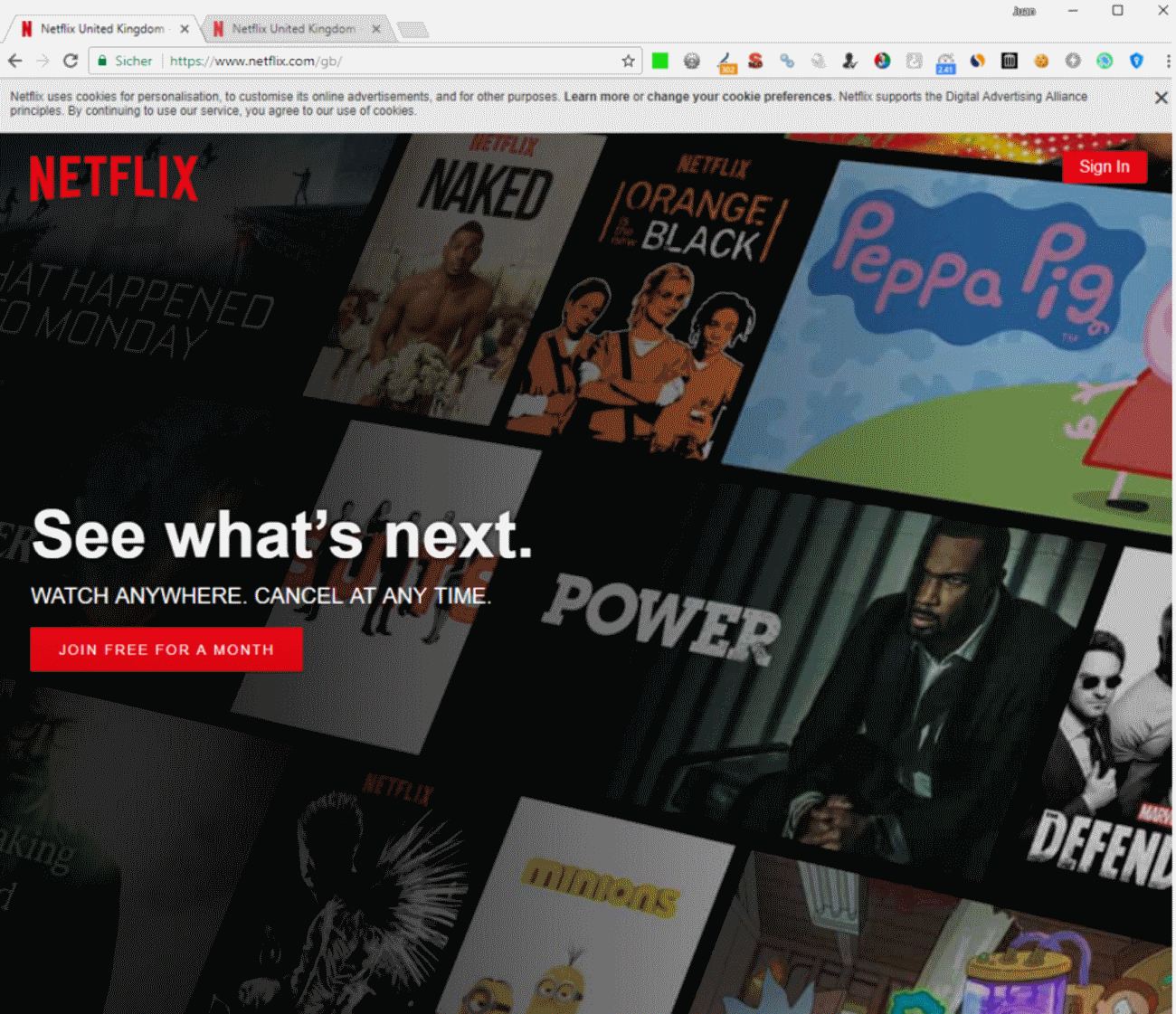 Contenido de Netflix mostrado a los usuarios en UK