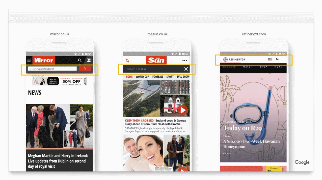 Playbooks Google: versión del sitio web para smartphones