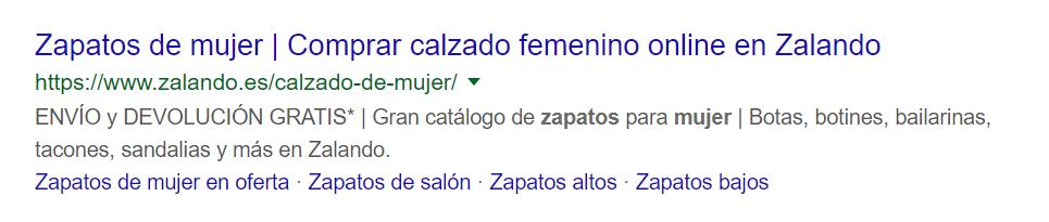 """SERP de Google.es para la búsqueda """"zapatos mujer"""""""