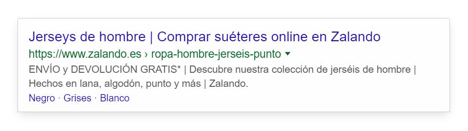 Title Tag optimizado de zalando.es para la búsqueda jerseys de hombre en el que se despierta la curiosidad del usuario.