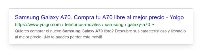 Title Tag óptimo de Yoigo.com sobre el nuevo Samsung Galaxy A70 en el que  despierta la curiosidad del usuario.