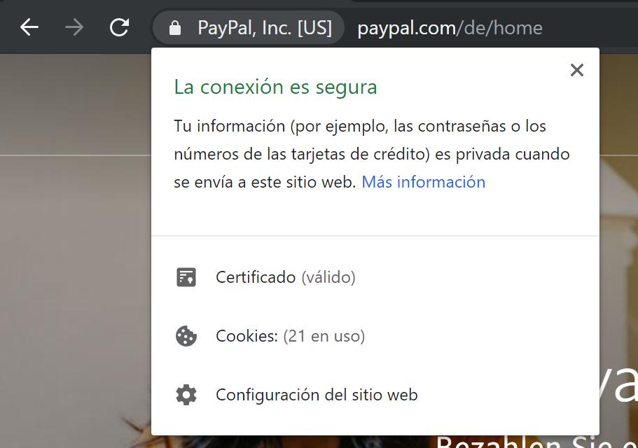 Certificado de seguridad SSL de paypal.com