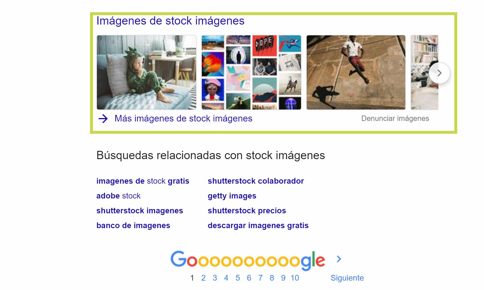 Imágenes de universal search tras realizar la búsqueda Stock imágenes en Google.es