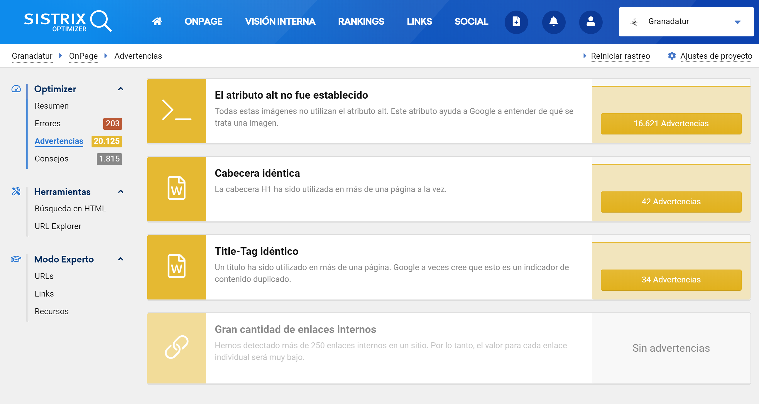 Ejemplo sobre el análsis OnPage detallado de la herramienta SEO SISTRIX