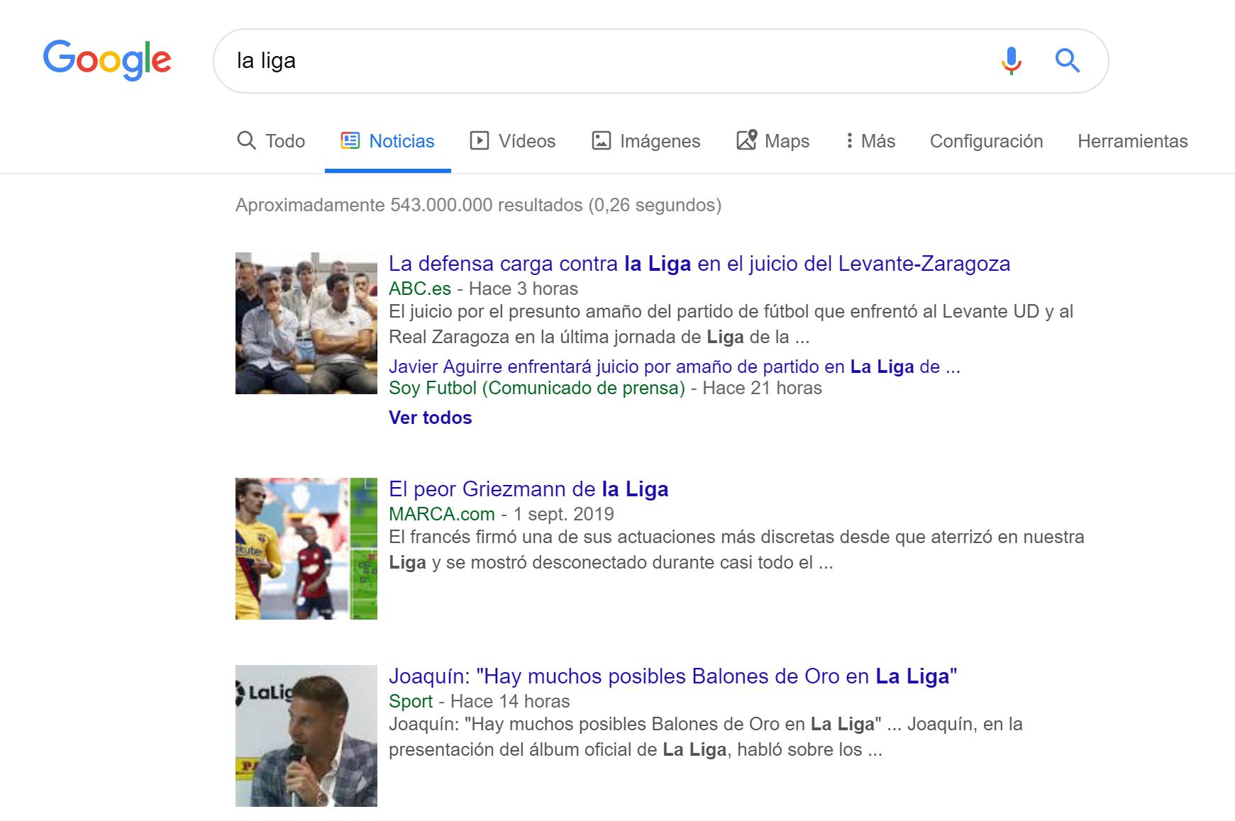 """Pestaña """"Noticias"""" en Google.es para la búsqueda de la palabra clave """"La Liga"""" en la versión escritorio."""