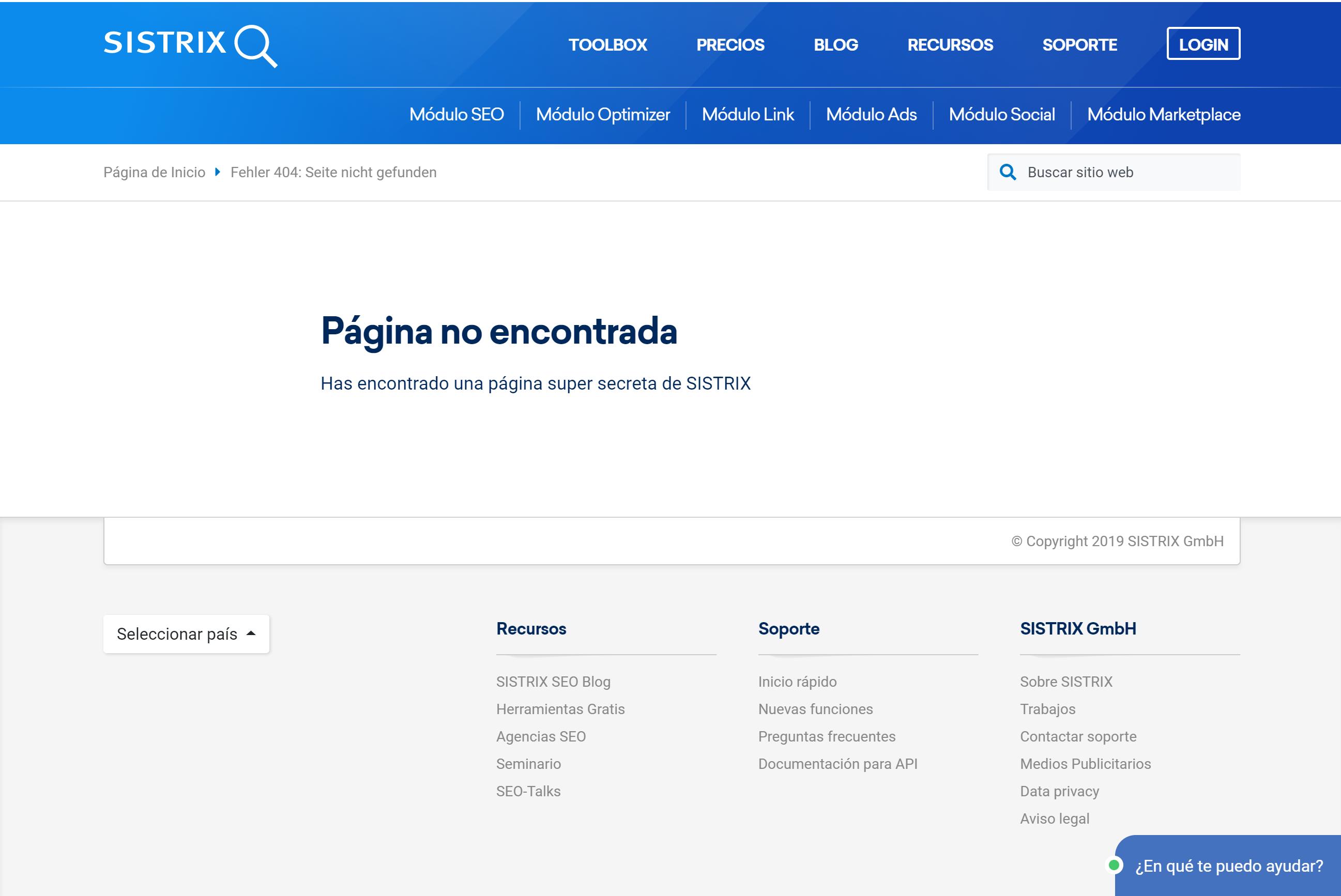 la búsqueda de la URL https://www.sistrix.es/no-existe/ el servidor muestra una página errónea 404 correcta, incluyendo el código de estado HTTP
