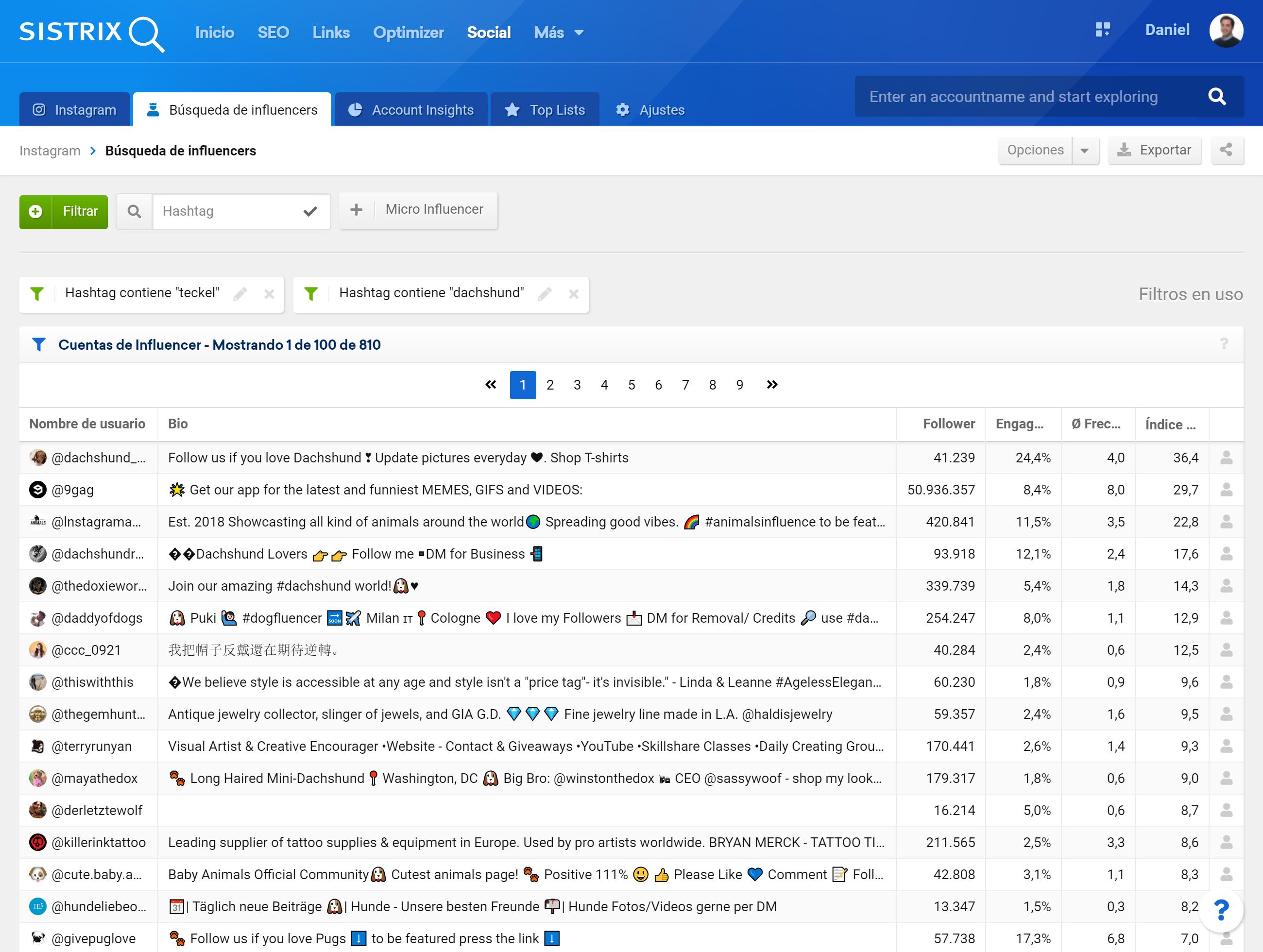 Página de filtros para la búsqueda dde influencers en SISTRIX