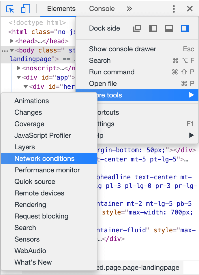 console chrome network conditions