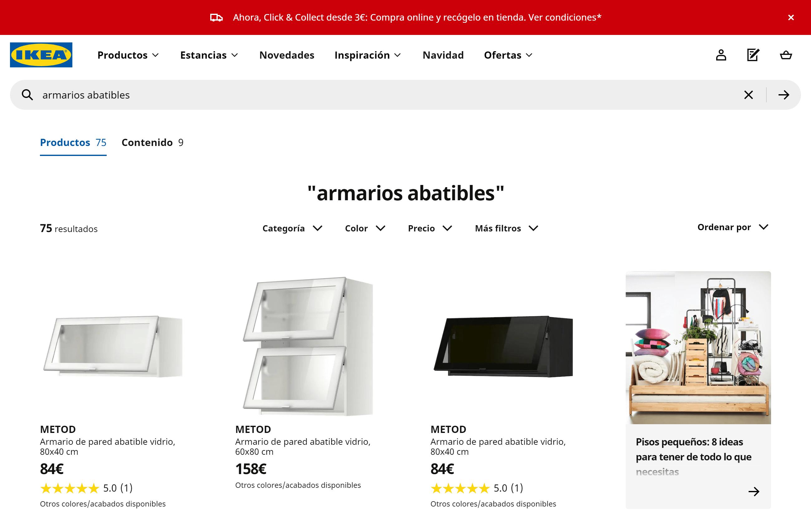 Búsqueda interna realizada en IKEA para encontrar armarios abatibles