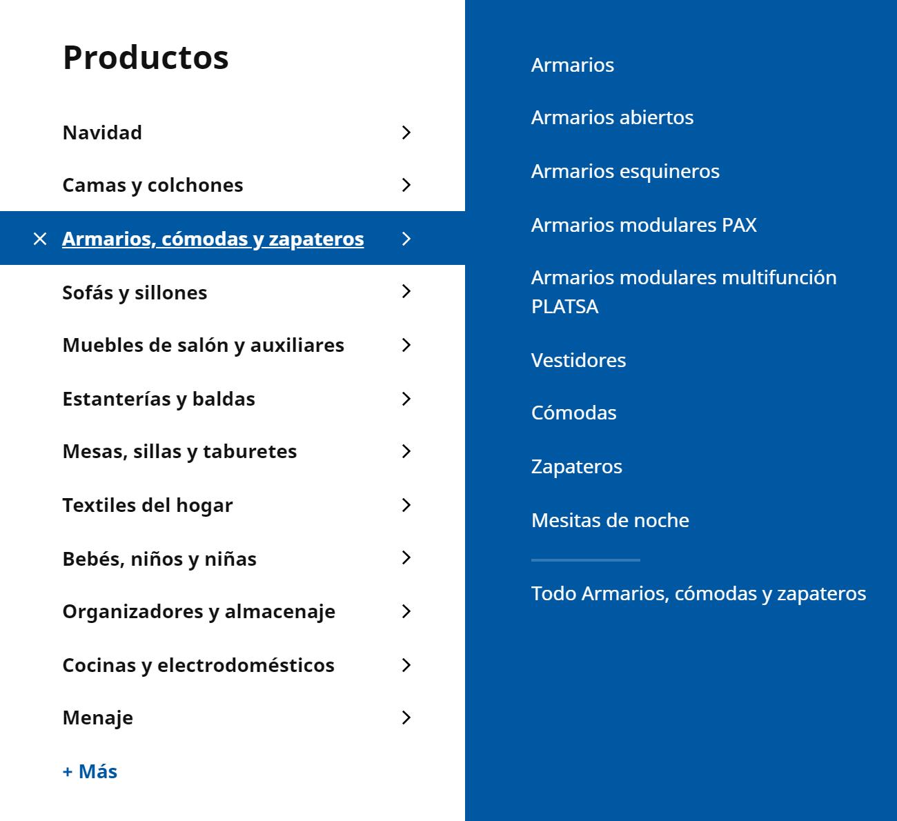 Los armarios abatibles no están categorizados en el menú de navegación de IKEA