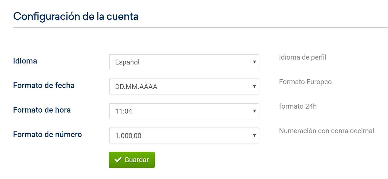 Configuración de la cuenta SISTRIX