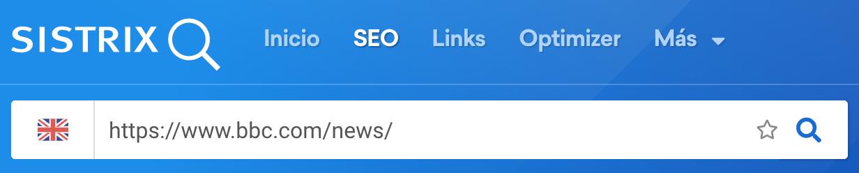 Directorio /news/ en la barra de búsqueda de Sistrix