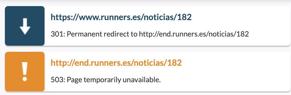 Redirección de dominio a subdominio que responde 503
