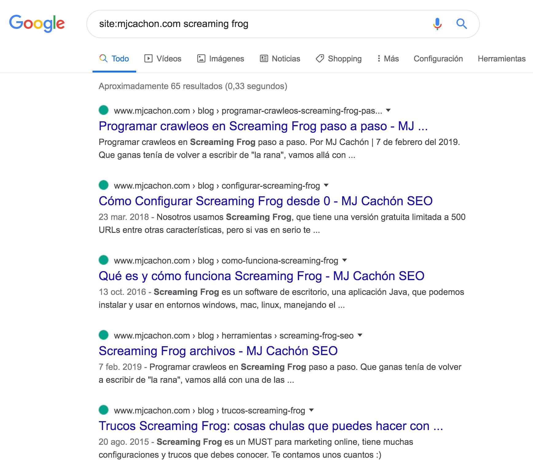 SERPs de Google para el comando site:mjcachon.com y la búsqueda screaming frog