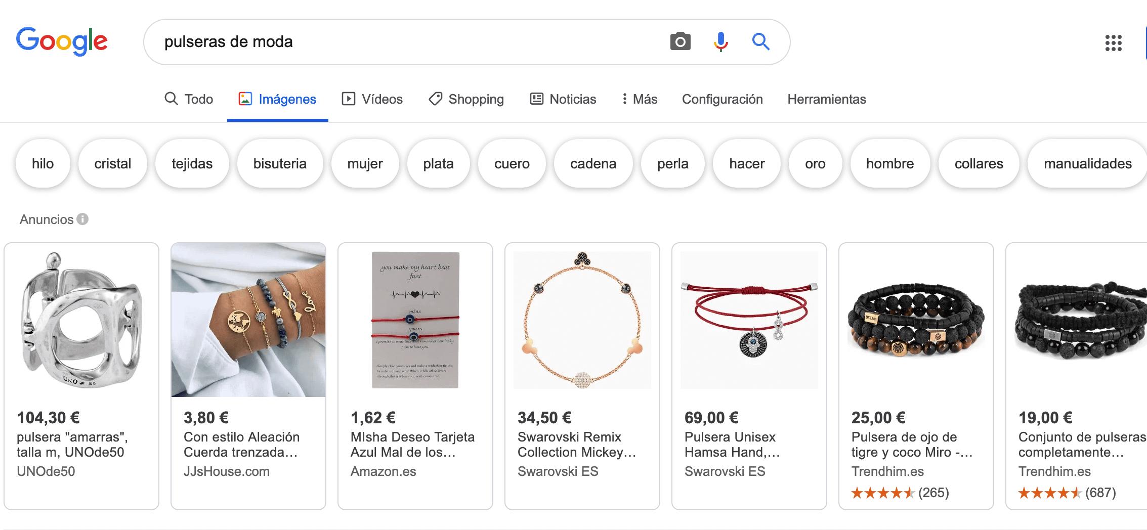 Palabras que sugiere Google Imágenes