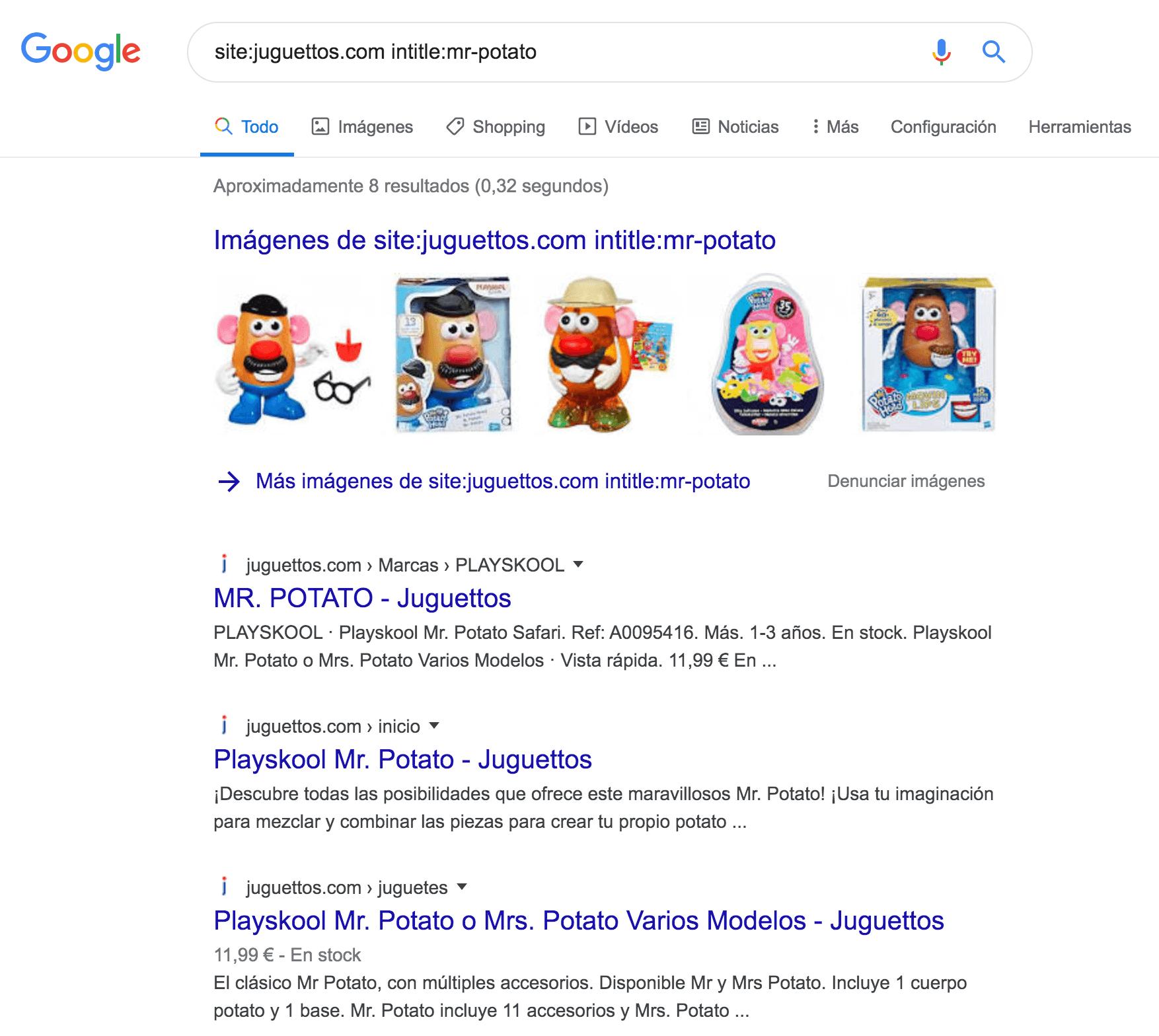 """Filtrar resultados por comandos de búsqueda de Google: site:tusitio.com + intitle:""""keyword"""""""