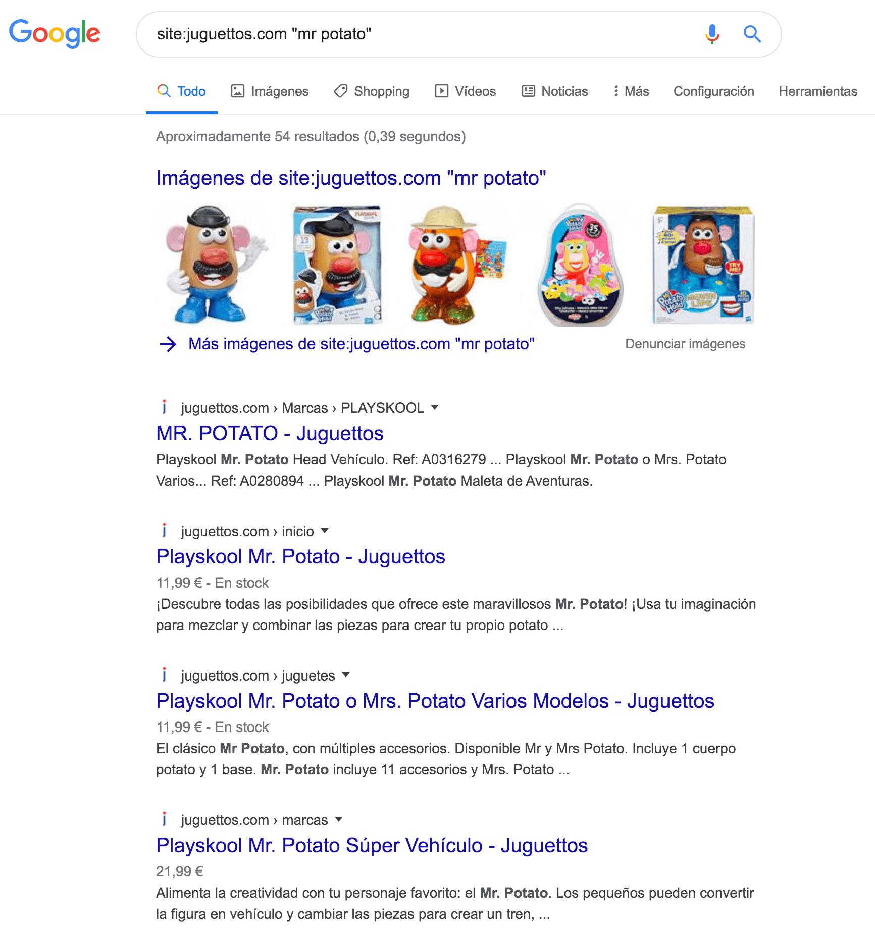 """Filtrar resultados por comandos de búsqueda de Google: site:tusitio.com + """"keyword"""""""