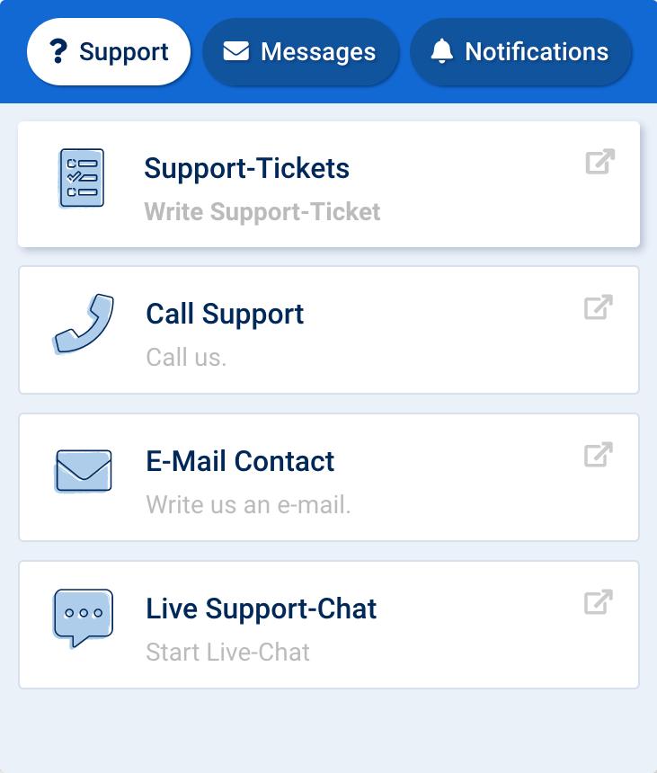 Imagen de la interfaz del botón de soporte. En la primera pestaña, soporte, puede elegir cómo ponerse en contacto con el soporte de SISTRIX. Mediante ticket, teléfono, correo electrónico o chat en vivo.