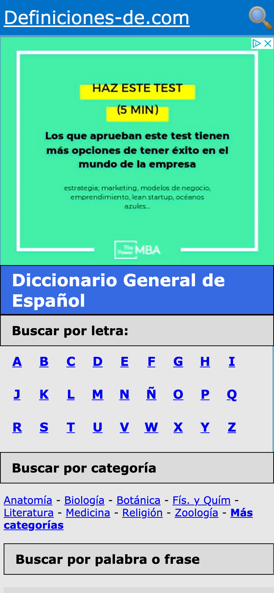 Aspecto mobile de la web definiciones-de.com
