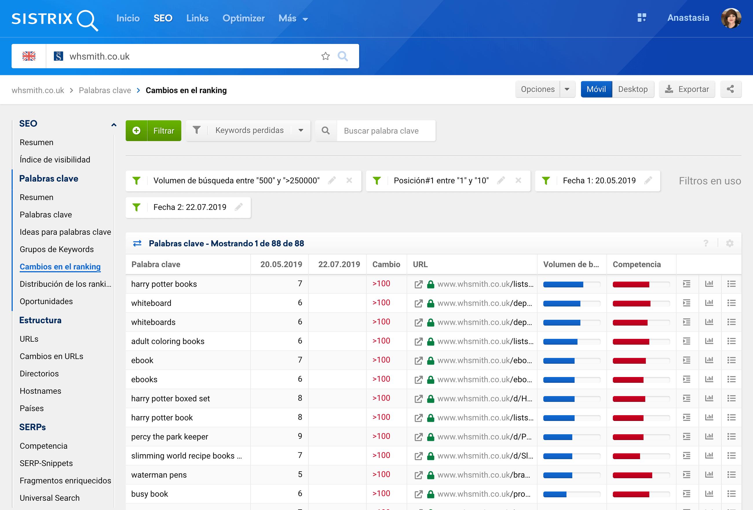 Cambios en el ranking tras una migración