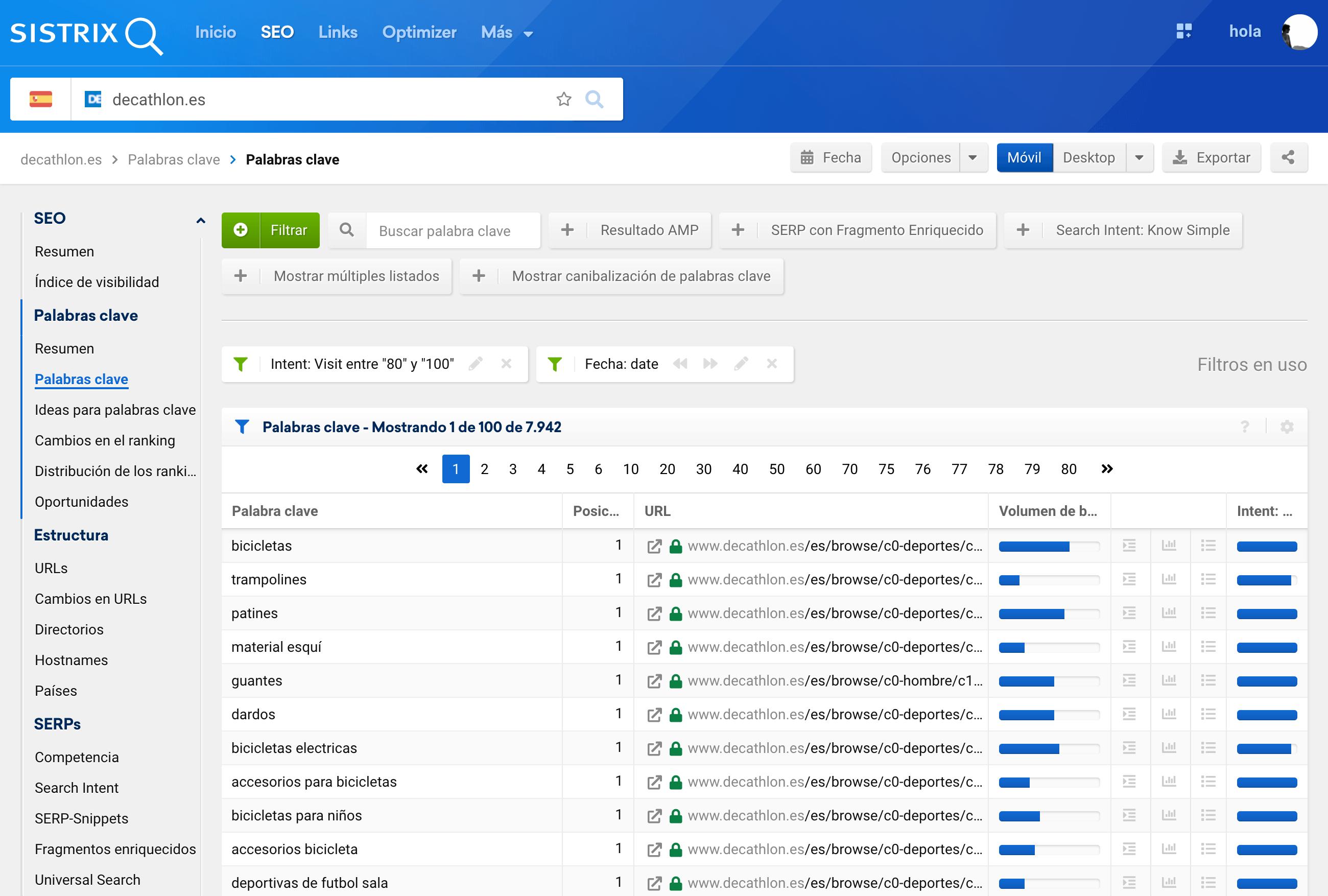 Intención de búsqueda de tipo VISIT, dentro de la sección de palabras clave de SISTRIX