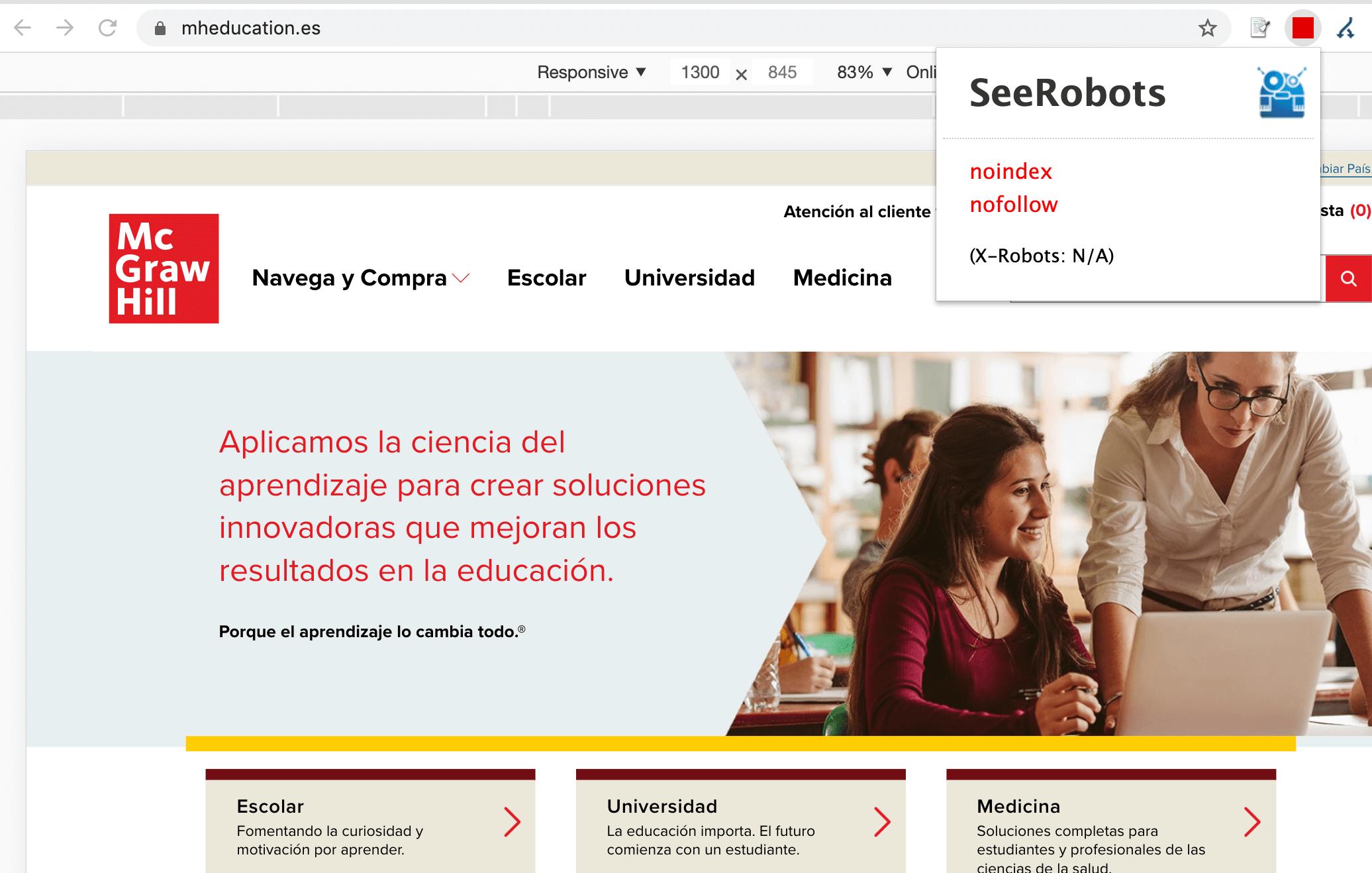 Homepage de mheduation.es y la instrucción noindex