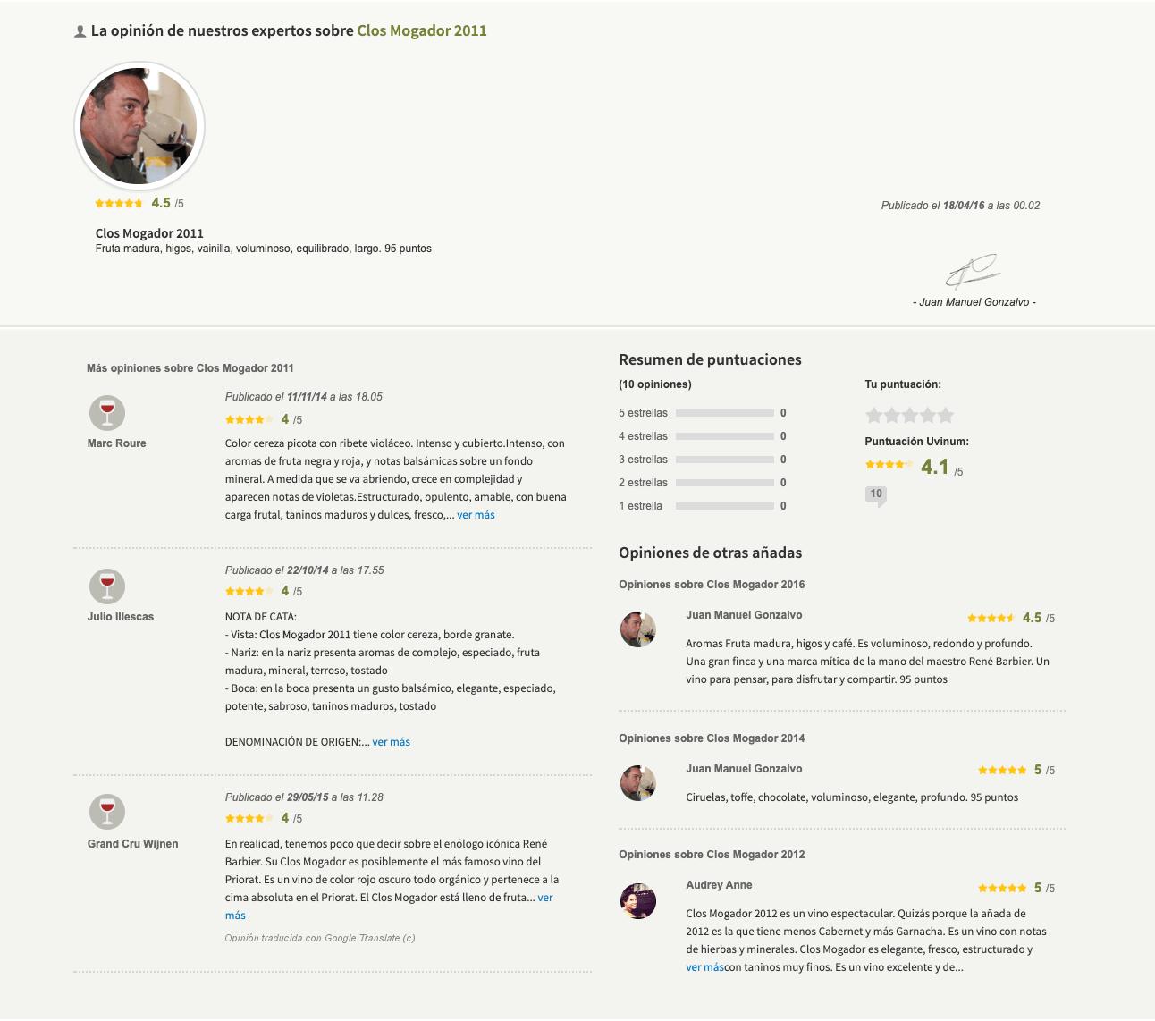 Opiniones integradas en la ficha de producto